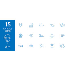 15 sky icons vector image
