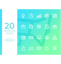 20 business icons business symbol outline icons vector image