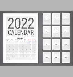 2022 calendar vector