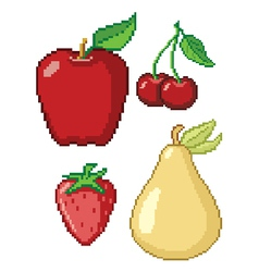 8-bit fruit retro video game cartoon web icon set vector image