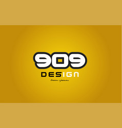 909 number numeral digit white on yellow vector