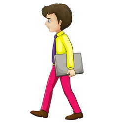 A businessman walking seriously while holding a vector