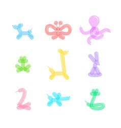 animal balloon color icons set vector image vector image