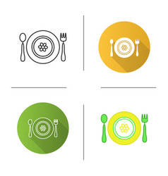 baby plate with spoon and fork icon vector image