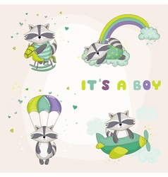 Baby racoon set - shower or arrival card vector