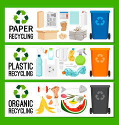 Banners with paper plastic organic trash vector