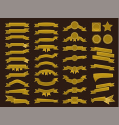 Big set of embroidered golden ribbons and stumps vector