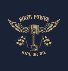 biker power piston with wings design element vector image