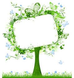Blank tablet on spring tree vector image