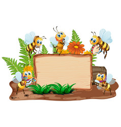 Border template design with insects in garden vector