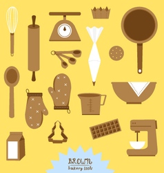 Brown bakery tools set vector