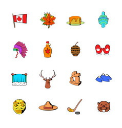 canada icons set cartoon vector image