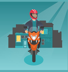caucasian man riding a motorcycle at night vector image