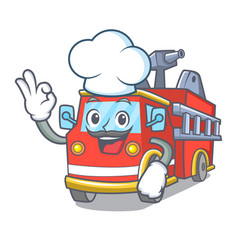 Chef fire truck character cartoon vector