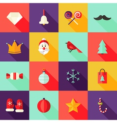 Christmas Square Flat Icons Set 1 vector