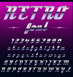 Chrome shiny retro vintage font typeface mado vector
