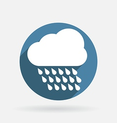 cloud rain Circle blue icon with shadow vector image