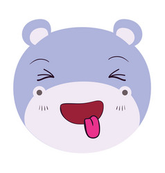 Colorful caricature cute face of hippo sticking vector