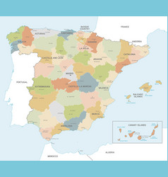 Colorful map spain vector