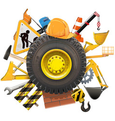 Construction Concept with Wheel vector image