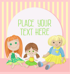 Cozy playing room for girl banner with place for vector