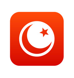 Crescent and star icon digital red vector