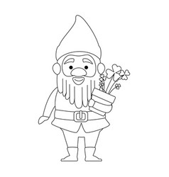 cute gnome with clovers plant character vector image