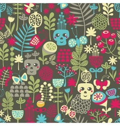 Cute skulls seamless pattern vector