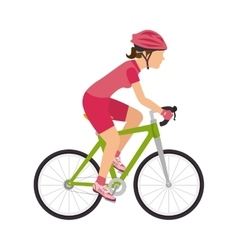 Cyclist woman riding sport bike vector