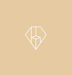 Diamond gem logo design premium furniture vector