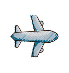 Doodle airplane flight transportation style to vector