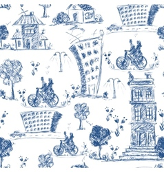 Doodle city seamless pattern vector image