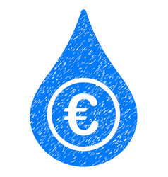 Euro liquid drop grunge icon vector