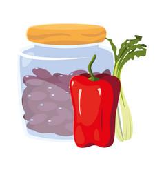 Farm jar with beans pepper scallion vector