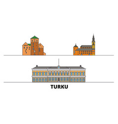 Finland turku flat landmarks vector