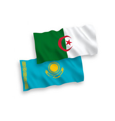 Flags kazakhstan and algeria on a white vector