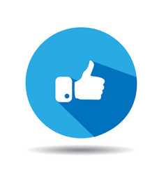 Flat blue button hand like icon vector