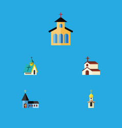 Flat icon church set of religion architecture vector