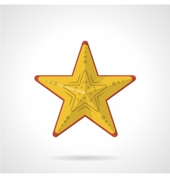 Flat style icon for yellow starfish vector image
