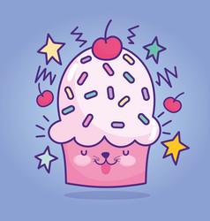 Food cute cupcake sprinkles fruit stars cartoon vector
