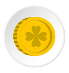 Golden coin with clover sign icon circle vector