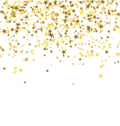 Golden stars falling from the sky on white vector
