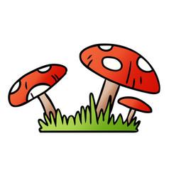 Gradient cartoon doodle of a toad stool vector