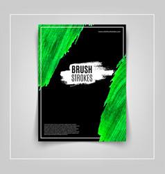 Green brushstroke on black background cover vector