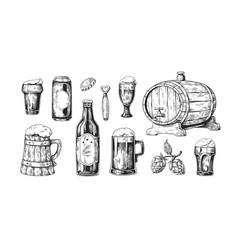 hand drawn beer vintage wooden and glass pub mugs vector image