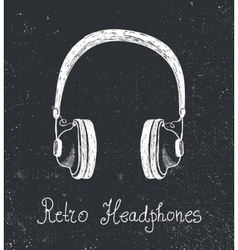 Hand drawn retro headphones earphones vector