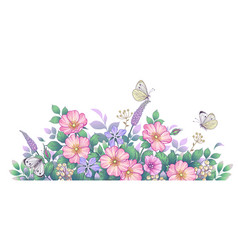 hand drawn wild flowers pink dog-rose and vector image