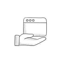 Hand holding browser window sketch icon vector image