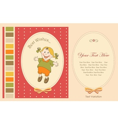 happy girl greeting card vector image