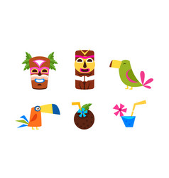 hawaiian symbols set summer vacation tropical vector image